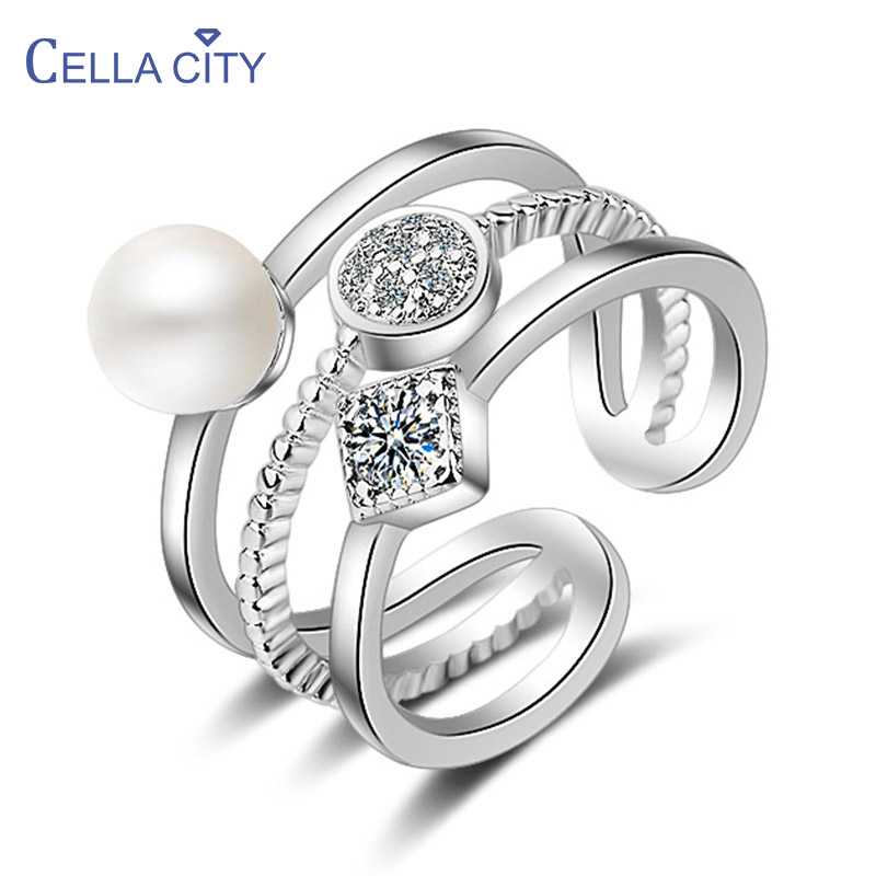 Cellacity Geometry Fashion Pearl Ring for Women Opening Silver 925 Jewelry Gemstones Korean Fashion Style Female Ring for Party