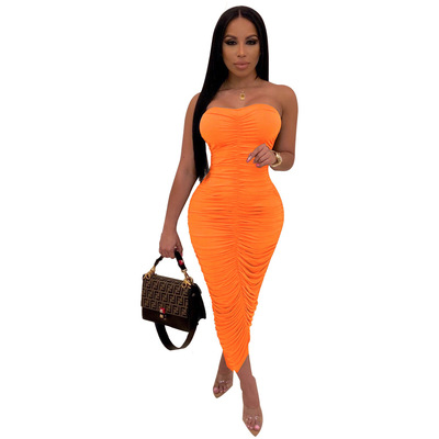 2021 New Summer Women's Suspenders Tie Up Body-con  Sexy Pencil Club Ankle Length  Beach Bikinis Casual Party Pleated Dresses 9