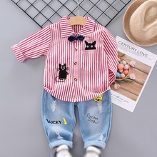 Autumn Hot Sale Baby Boys Cute Casual Long Sleeve Striped Cat Print Shirt Blouse Tops+Denim Pants Trouser Set
