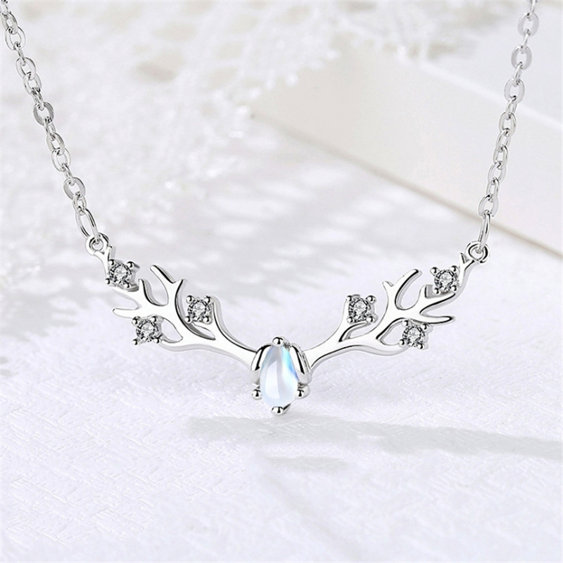 Cute Korean Fashion Milu Elk Head Moon Stone Necklace 925 Sterling Sliver Crystal CZ Stones Womens Necklaces Jewelry 2019KXL1192