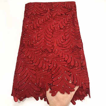 High Quality African Tulle Guipure Cord Lace Fabric Red Nigerian French Network Cord Lace Fabric With Stones For Dress ZQA3-1