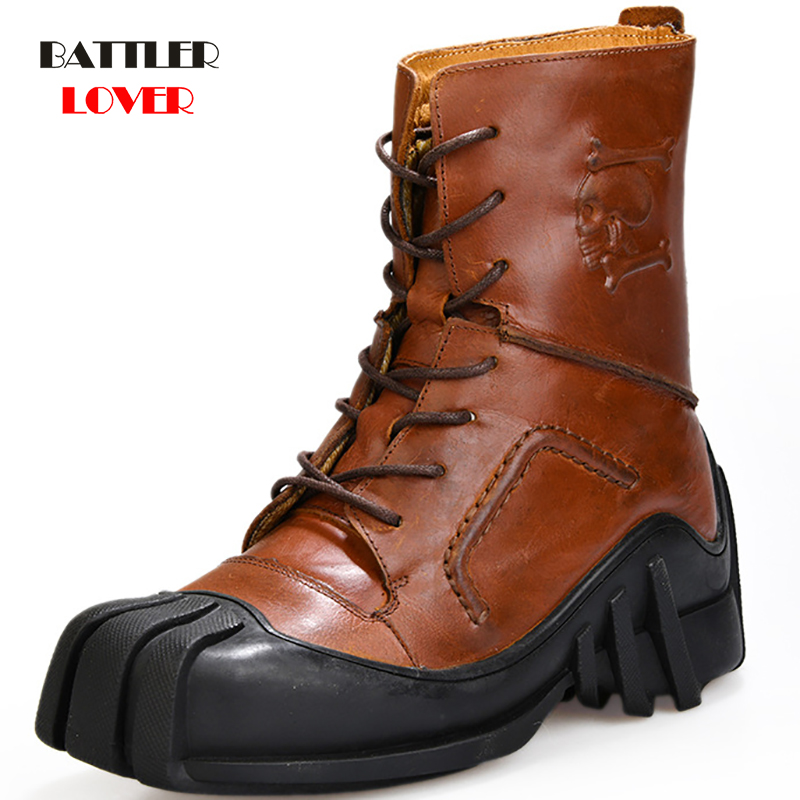 Steampunk Boots Men Genuine Cow Leather Retro Males High Help Denim Locomotive Men's Riding Martin Boots Motorcycle Tooling Boot