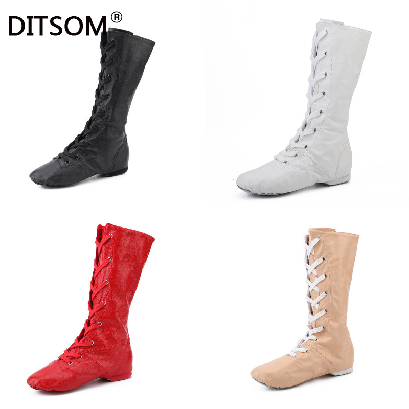 2019 New Genuine Leather Sports Dance Feature High Boots For Women Jazz Dance Shoes Stage Performance Shoes Plus Size 31-45