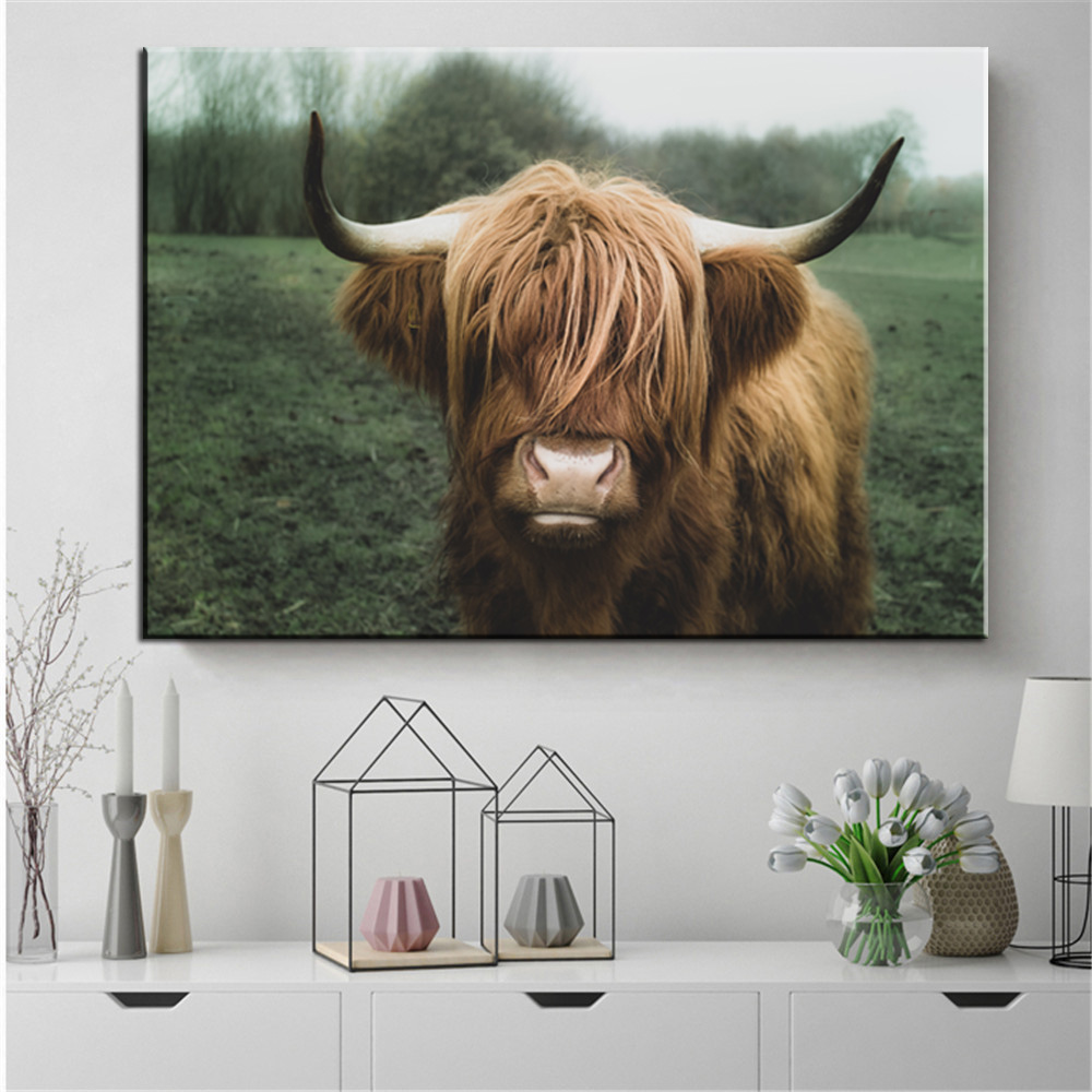 Nordic Decoration Highland Cow Cattle Wall Art Canvas Poster and Print Animal