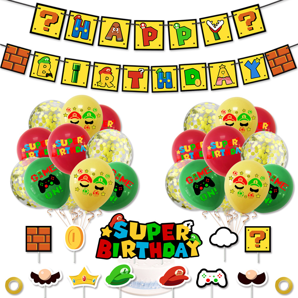 32 1 pçs/set Super Mario Balões Feliz Aniversário Bandeira + 20 Balões De Látex + 11 chapéus de Coco Do Bolo Para A Festa de Aniversário Balões Decoração Set