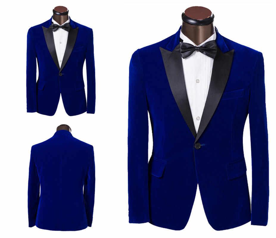 1PC カスタムメイドベルベット男性のタキシードドレス新ファッションブルーシングルボタン男性スーツスリム新郎のウェディング男性ジャケット