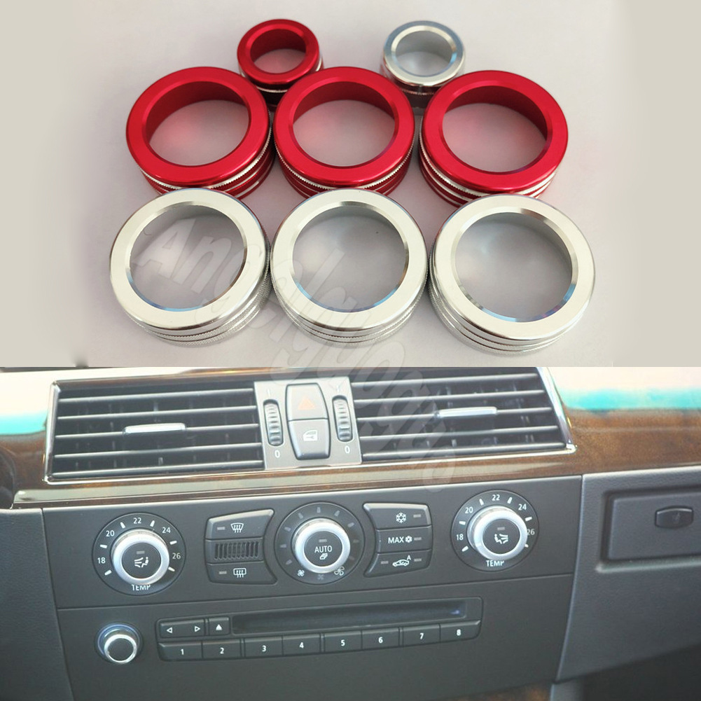 HOTRIMWORLD Carbon Fiber Dashboard Side Air Vent Outlet Trim Cover 2pcs for BMW 5 Series E60 E61 2005-2010