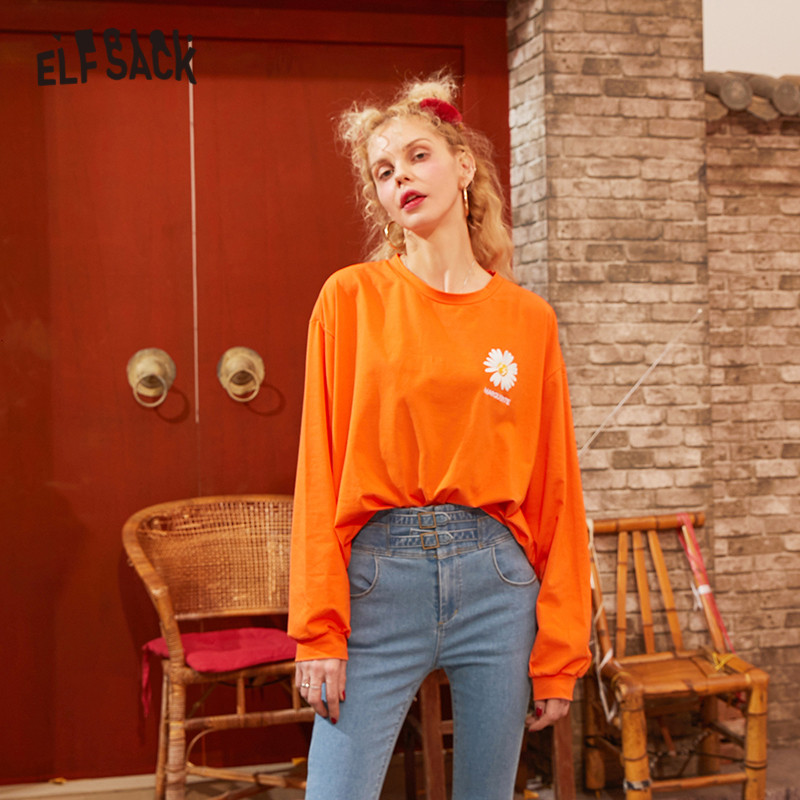 ELFSACK Black Solid Daisy Print Korean Style Women T Shirts 2020 Spring Orange Letter Embroidery Long Sleeve Ladies Basic Top