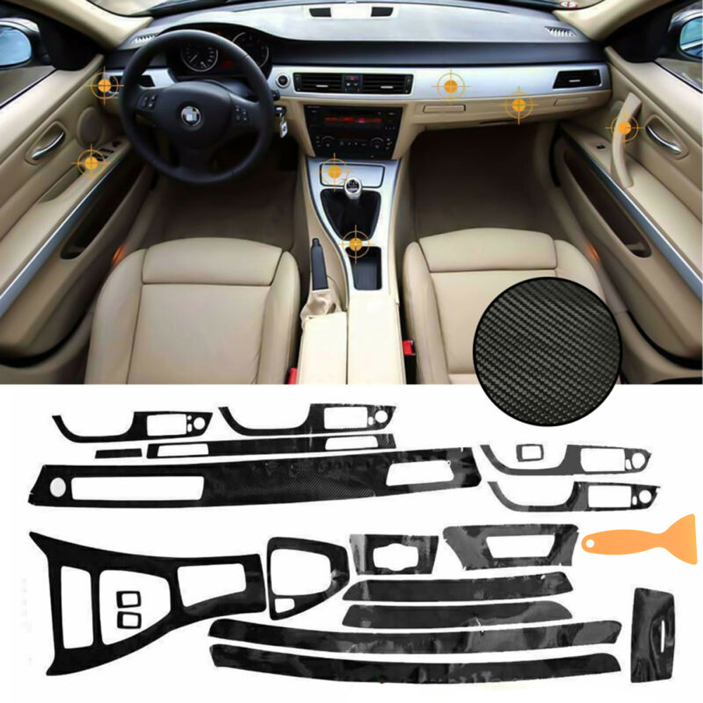 Car Full Kit/set 5D Car Interior Glossy Carbon Fiber Wrap Trim For BMW E90 E92 E93 2005-2012 Protector Sticker Decals Accessory
