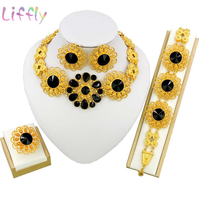 Liffly כלה תכשיטי סט ניגרי חתונה דובאי זהב תכשיטי סטים לנשים אפריקאי גדול פרחי שרשרת עגילי תכשיטים