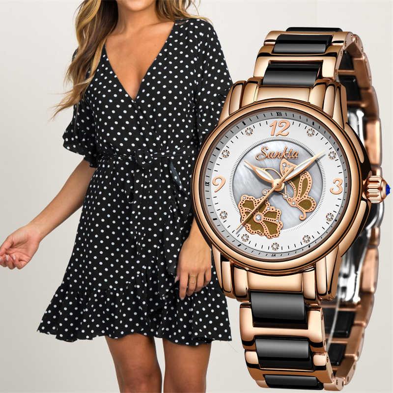 SUNKTA ファッション女性腕時計女性トップブランドの高級セラミックラインストーンスポーツクォーツウォッチ女性防水ブレスレットウォッチ