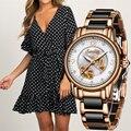 Sunkta moda feminina relógios senhoras marca superior luxo cerâmica strass esporte relógio de quartzo feminino azul à prova dwaterproof água pulseira relógio