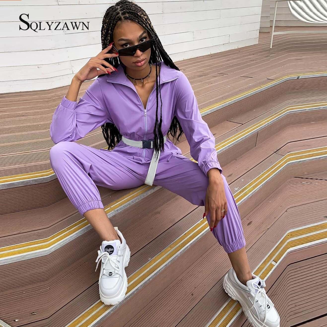 Women Autumn Long Sleeve Cargo Jumpsuit Trousers Sportwear Ankle-length Female Zipper Up Turtleneck Purple Romper Belt Overalls