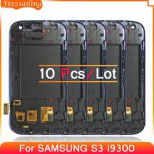 サムスンギャラクシー s iii S3 i9300 液晶タッチスクリーンデジタイザ交換部品フレーム青白