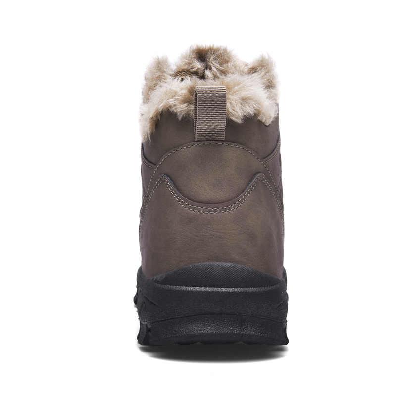 גברים קרסול שלג מגפי חורף פרווה חם עור חיצוני הליכה הר טיפוס waterproof משלוח חינם גדול גודל נעליים