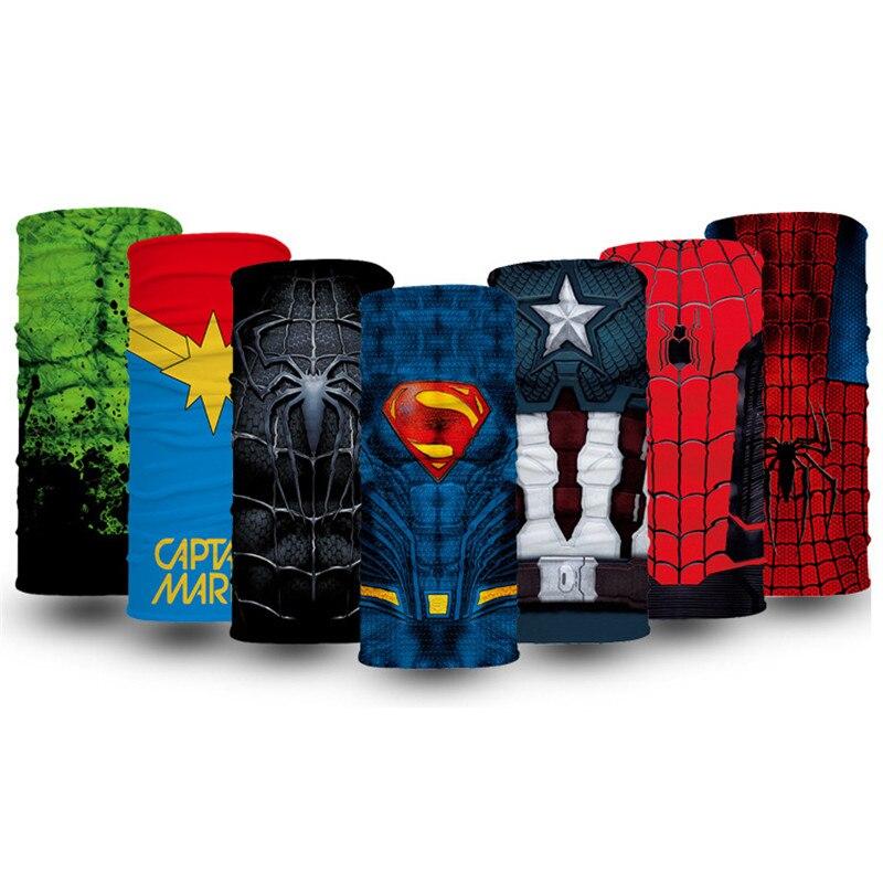 Super-herói cosplay tubo bandana masculina impresso caminhadas proteção pescoço gaiter cachecol rosto correndo balaclava cachecol máscara