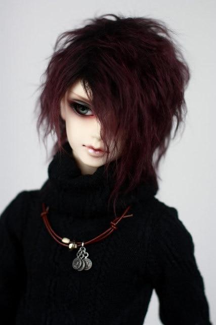 BJD lalka plushWig sos fioletowy czarny krótkie peruki z kręconych włosów dla 1/3 1/4 1/6 BJD DD SD MDD MSD YOSD wujek lalki futro peruki