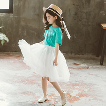 Girls Clothes Set Kids Summer Clothing Outfits Children Letter T-Shirt with Gauzy Skirt 2pcs Suits For Teens Girls 6 8 10 Years стул gauzy