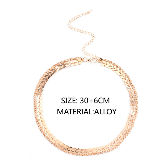 Fashion Women Lady Elegant V Sequins Chain Necklace Bib Party Double Layer Necklace Jewelry Choker Necklace 5