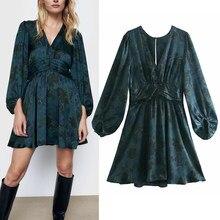Robe drapée imprimée bleue pour femmes, Mini robe Vintage, manches ballon, froncée à la taille, automne, 2020