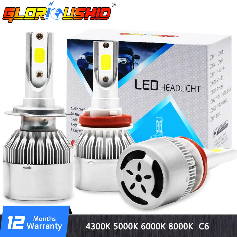 H4 LED C6 H11 H1 H4 H7 9005 9006 H3 H8 H9 H13 9007 Auto Car Headlight Bulbs 72W 7800LM 6000K Led Automotive