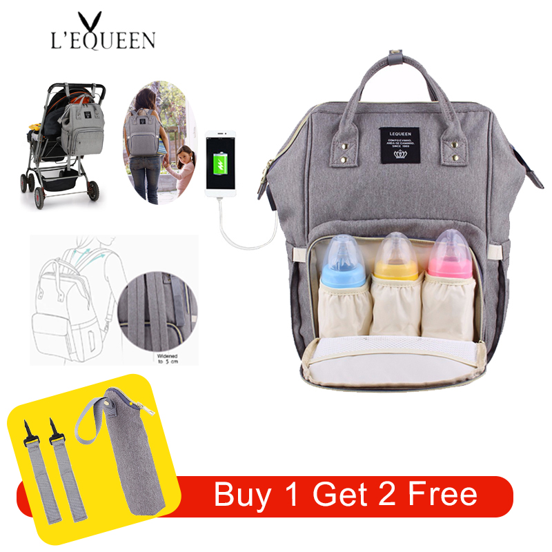 Lequeen USB Diaper Bags Large Nappy Baby Bag Upgrade Fashion Travel Backpack Waterproof Maternity Mummy Bag With 2 Pcs Hook