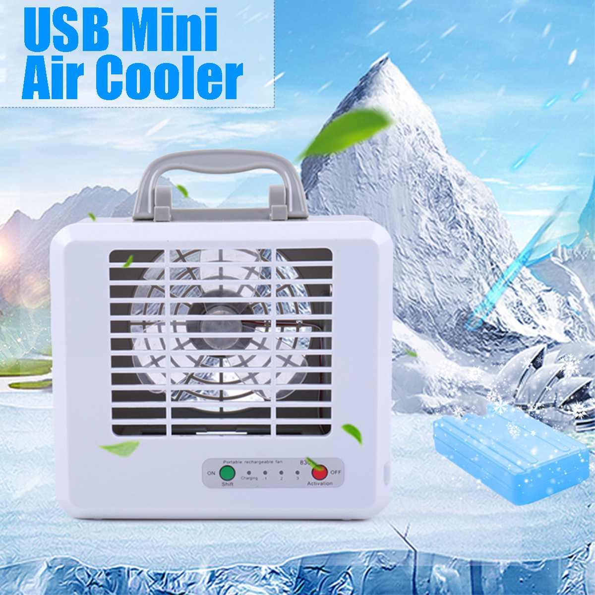 Air Cooler Charging Fan Hanging Neck Mini Silent Fan Rotating Folding Desktop Handheld Fan Car Home Office Color : Blue