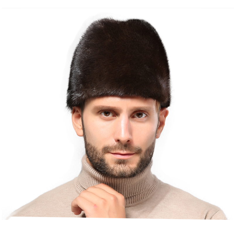 Winter Hat Fur-Hat Cap. Water-Mink-Fur Black Warm Men Go-Out Best-Selling Men's Pure