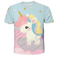 021girls 3D unicorn Print T-shirts cute unicorno tshirt Girls NEW Summer Tees Top Clothing Children cartoon Clothes Casual teen