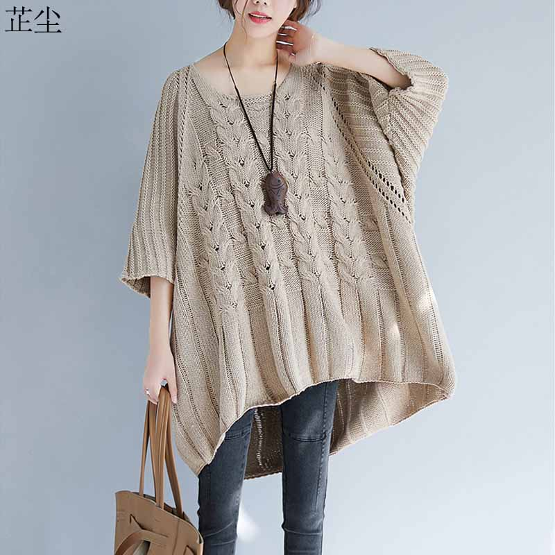 Women Winter Sweaters 2019 Autumn Winter New Plus Size Batwing Knitted Sweater Oversize Loose Vintage Large Size Pullover Tops