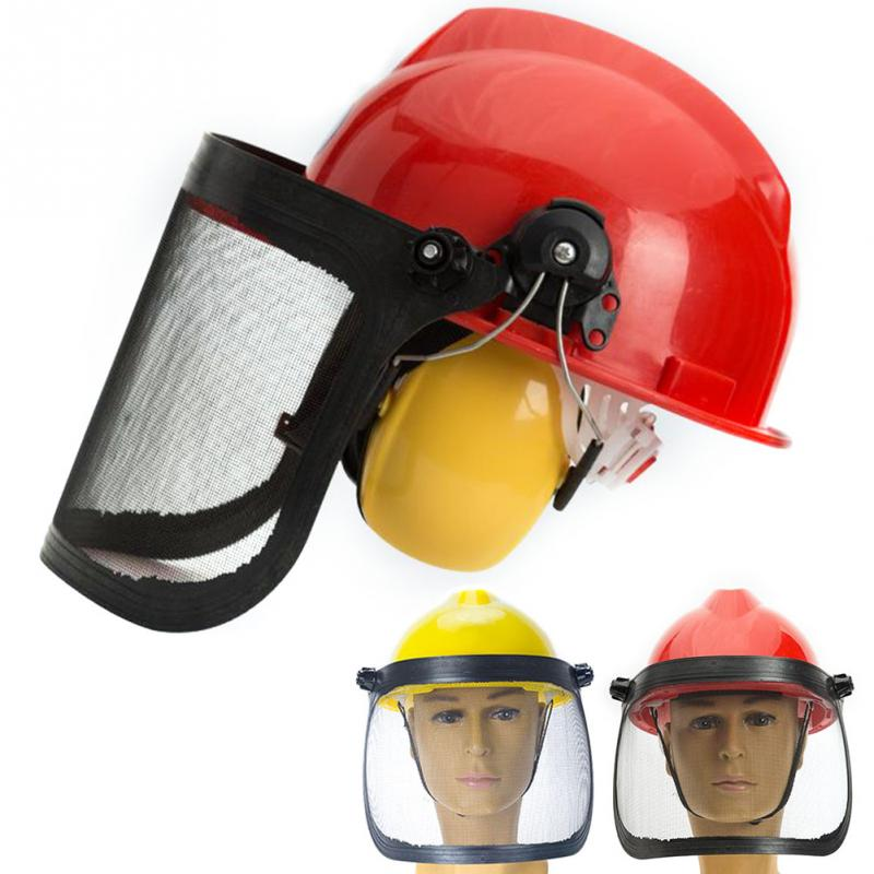 Helmet Protective Mask Chainsaw Safety Trimmer Hat Forestry Garden Metal Visor 180 Degrees Adjustable Ear Defenders Outdoor
