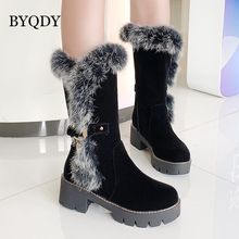 BYQDY New 2020 Autumn Winter Mid-calf Women Boots Thick Heels Warm Plush Rabbit Hair Shoes Plus Size 34-43 Good Quality