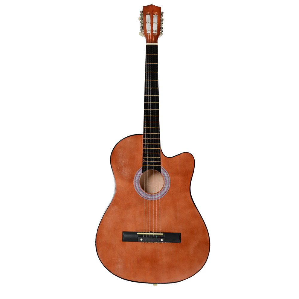 38 Inch Creative Cutaway Acoustic Guitars with Guitar Plectrum Portable Students Wooden Guitar 19 Frets Stringed Instrument