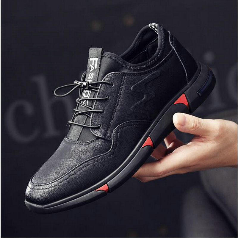 Fashion Sneakers Flats Driving Shoes For Men NEW Brand High Quality All Black Men's Leather Casual Flats Shoes LM-41
