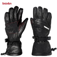 Genuine Leather Touch Screen Ski Gloves with Warm Fleece Winter Waterproof Outdoor Skiing Motorcycle Riding Snowboard Gloves