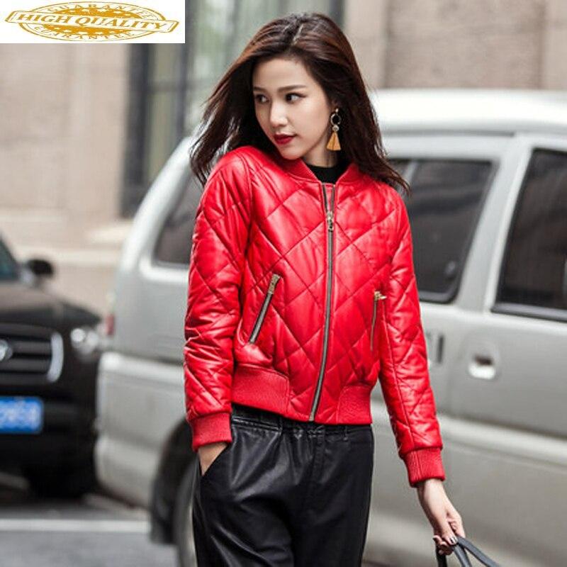 Genuine Leather Jacket 2020 Real Sheepskin Coat Female Down Jacket Winter Jacket Women Streetwear Baseball Jackets MY