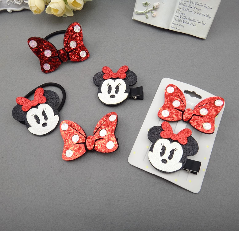 1PC/2PC Lovely Cartoon Combination Children's Series Girls Ponytail Hair Pins Sweet Elastic Hair Bands Hair Accessories HeadWear