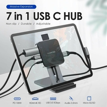 LENTION USB C Hub for iPad Pro Stand HDMI-Compatible+USB3.0+PD+TF+3.5mm Audio 7 in 1 for Huawei Mate 40 Pro Samsung Galaxy S21