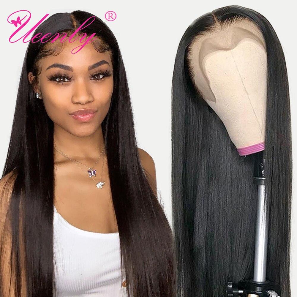 Ueenly 13x 4/13x6 perucas do cabelo humano da parte dianteira do laço perucas brasileiras do cabelo humano em linha reta peruca frontal do laço 360 pré arrancadas com cabelo do bebê