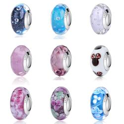 Glass Beads Fit Pandora Bracelet Authentic 925 Sterling Silver Charms Original Heart Flower Murano Bead Women Diy Jewelry Making