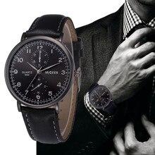 MIGEER Men Watches Relogio Masculino Retro Design Leather Band Watches Analog Alloy Quartz Wrist Bus