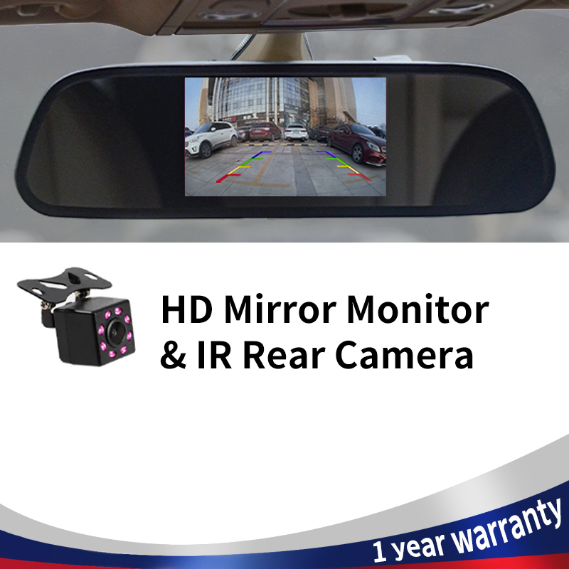 Car Rearview Mirror Monitor HD Video Auto Parking Monitor TFT LCD Screen 4.3/5 Inch Display With Night Vision Reversing Camera