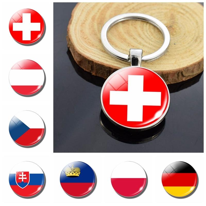 National Flag Key Chains Austria Czech Republic Slovakia Switzerland Liechtenstein Poland Germany Double Side Glass Dome Keyring(China)