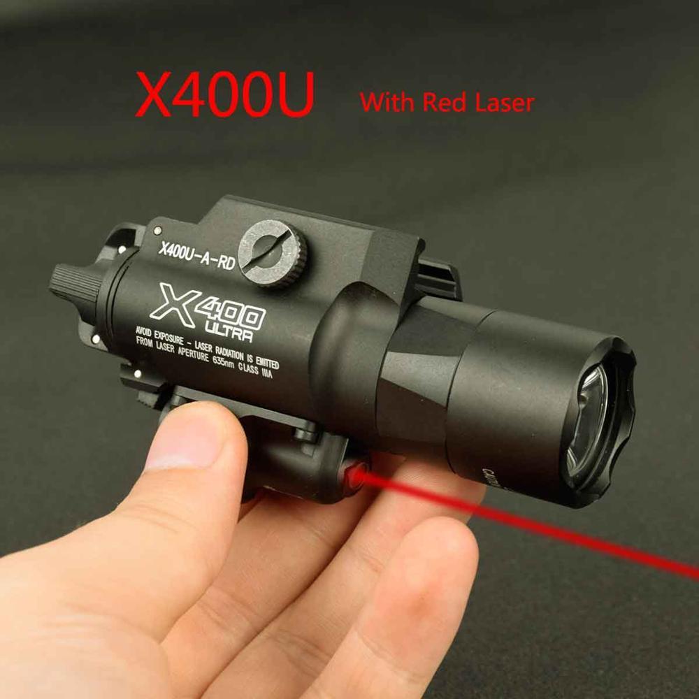 500 Lumens Tactical X400 Ultra Night Evolution  Weapon Light With Red Laser Pistol Gun Flashlight Fit 20mm Picatinny Weaver Rail