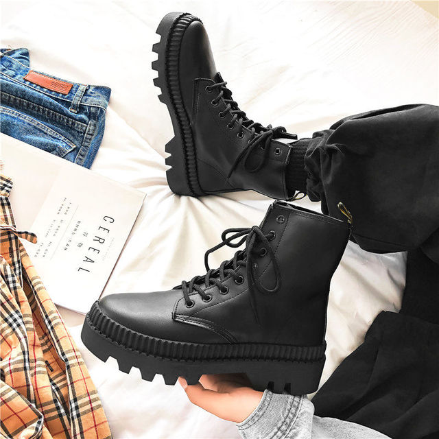 2020 Winter New Black Thick Base Cloth Mid-Top Boots Men Fall British Trend Boots Hight-Top Korean Casual Men's Shoes Boots