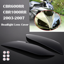 2Pcs Motorcycle Headlight Cover Lens Screen Protector for 2004-2007 CBR1000RR 2003 2004 2005 2006 Honda CBR 600 RR 600RR Smoke цена в Москве и Питере