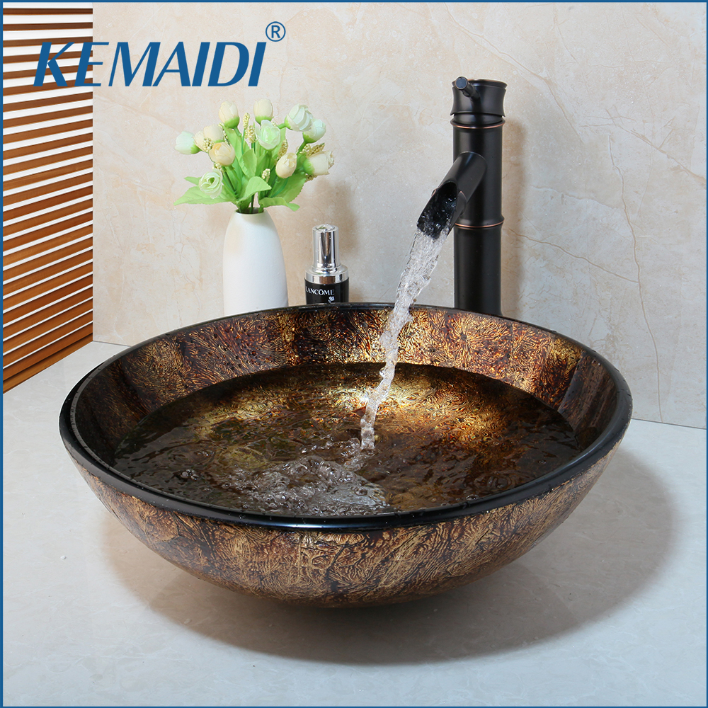 KEMAIDI New Soild Brass Oil Bamboo Black Faucet +Ross Brand 2015 Washbasin Lavatory Glass Sink Bath  Combine Tap Mixer Faucet