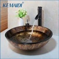 KEMAIDI New Soild Brass Oil Bamboo Black Faucet +Ross Brand 2015 Washbasin Lavatory Glass Sink Bath Combine Tap Mixer Faucet