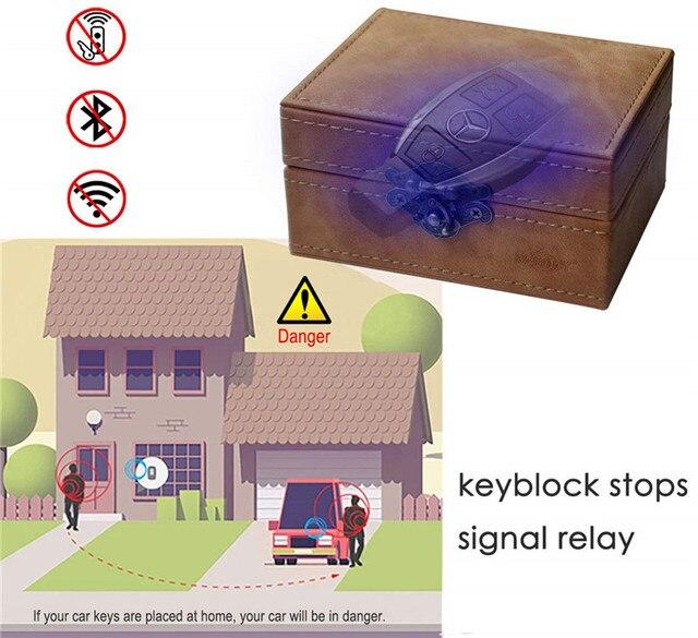 Faraday Box Keyless Car Key Signal Blocker Box Total Signal Blocking for Smart Keys RFID Signal Blocker Pouch Retro Style