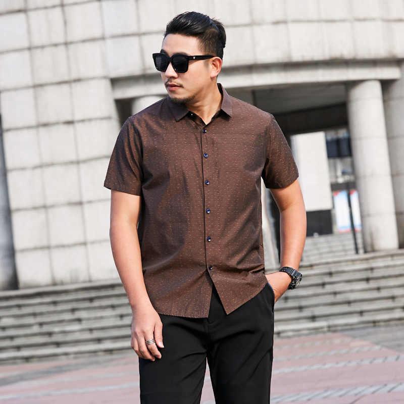 2020 novo tamanho grande 8xl 7xl 6xl 5xl camisas de verão dos homens novos impresso fino ajuste camisas de manga curta masculino casual topos mais tamanho
